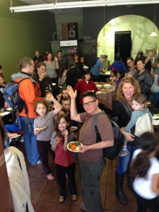 MYT families give a hearty hello at potluck.
